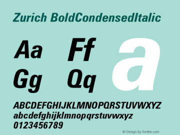 Zurich BoldCondensedItalic Version 003.001图片样张
