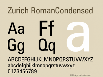 Zurich RomanCondensed Version 003.001图片样张