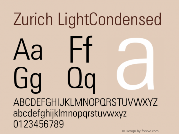 Zurich LightCondensed Version 003.001图片样张