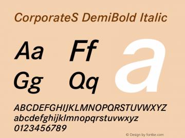 CorporateS DemiBold Italic 001.004 Font Sample
