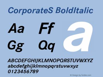 CorporateS BoldItalic Version 001.004 Font Sample