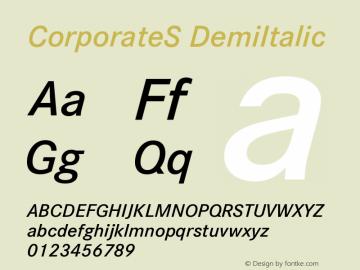 CorporateS DemiItalic Version 001.004 Font Sample
