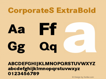 CorporateS ExtraBold Version 001.004 Font Sample