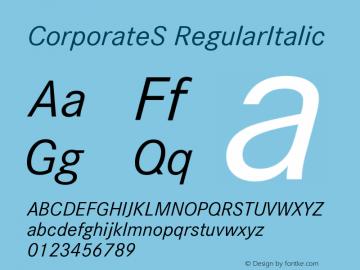 CorporateS RegularItalic Version 001.004 Font Sample