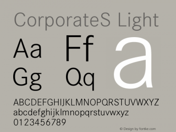 CorporateS Light Version 001.004 Font Sample