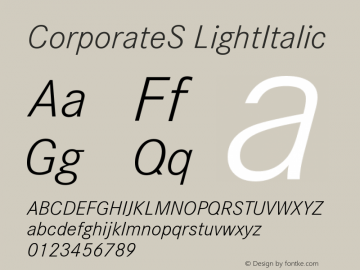 CorporateS LightItalic Version 001.004 Font Sample