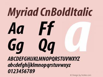Myriad CnBoldItalic Version 001.000 Font Sample