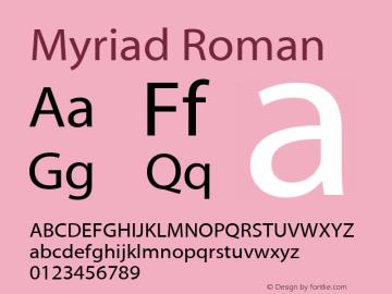 Myriad Roman Version 001.000 Font Sample