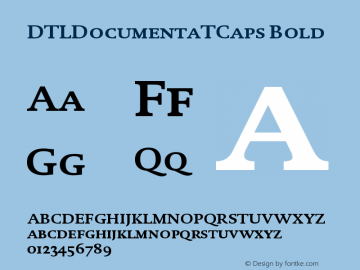 DTLDocumentaTCaps Bold Version 001.000 Font Sample