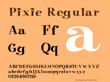 Pixie Regular Unknown Font Sample