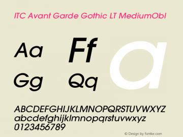ITC Avant Garde Gothic LT MediumObl Version 006.000 Font Sample