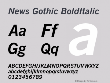News Gothic BoldItalic Version 003.001 Font Sample