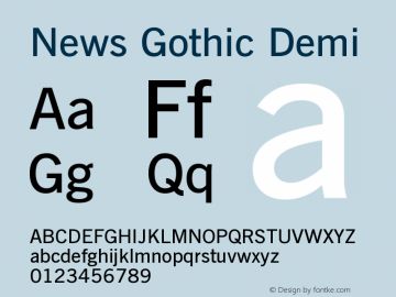 News Gothic Demi Version 003.001 Font Sample