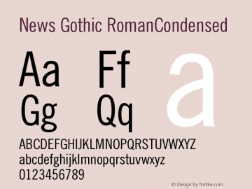 News Gothic RomanCondensed Version 003.001 Font Sample