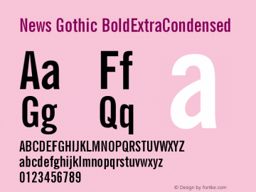 News Gothic BoldExtraCondensed Version 003.001 Font Sample