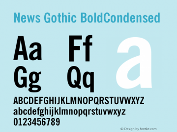 News Gothic BoldCondensed Version 003.001 Font Sample