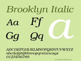 Brooklyn Italic v1.00 Font Sample
