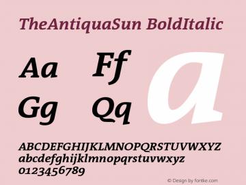 TheAntiquaSun BoldItalic Version 001.001 Font Sample
