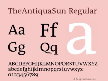 TheAntiquaSun Regular Version 001.001 Font Sample