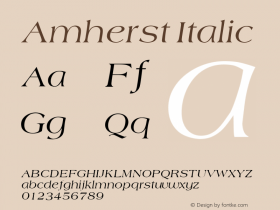 Amherst Italic Unknown Font Sample