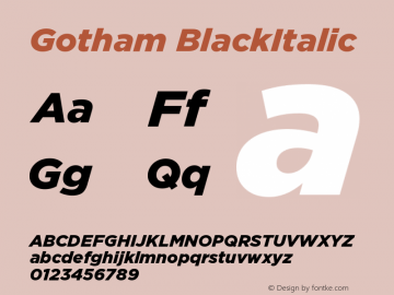 Gotham BlackItalic Version 001.000图片样张