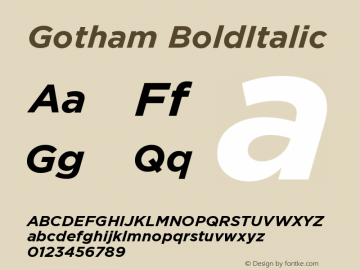 Gotham BoldItalic Version 001.000图片样张
