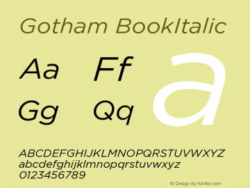 Gotham BookItalic Version 001.000图片样张
