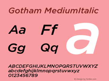 Gotham MediumItalic Version 001.000图片样张