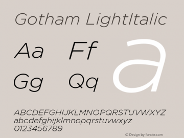 Gotham LightItalic Version 001.000图片样张