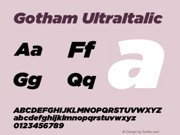 Gotham UltraItalic Version 001.000图片样张