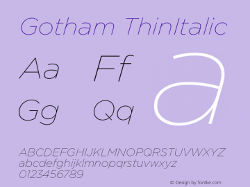 Gotham ThinItalic Version 001.000图片样张