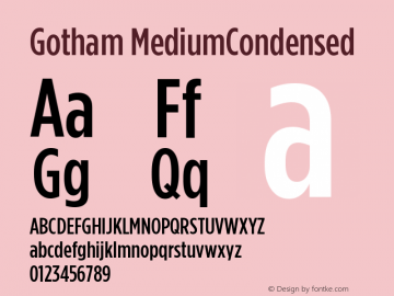 Gotham MediumCondensed Version 001.000图片样张