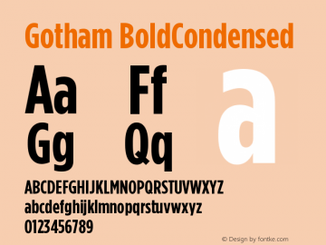 Gotham BoldCondensed Version 001.000图片样张