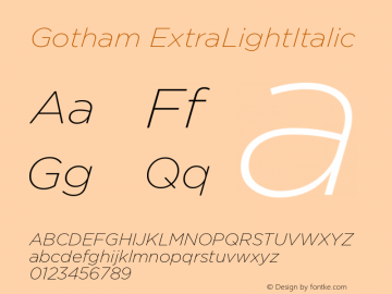 Gotham ExtraLightItalic Version 001.000图片样张