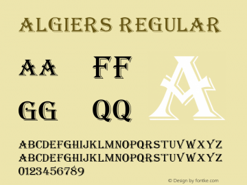 Algiers Regular Unknown Font Sample