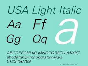 USA Light Italic 0.0 Font Sample