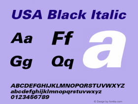 USA Black Italic 001.003 Font Sample