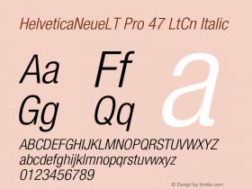 HelveticaNeueLT Pro 47 LtCn Italic Version 1.000;PS 001.000;Core 1.0.38 Font Sample