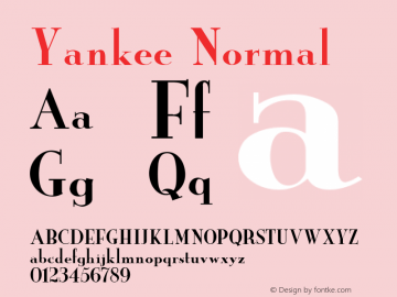 Yankee Normal 1.000 Font Sample