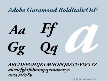 Adobe Garamond BoldItalicOsF Version 001.001 Font Sample