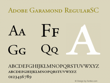 Adobe Garamond RegularSC Version 001.001 Font Sample