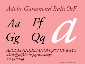Adobe Garamond ItalicOsF Version 001.001 Font Sample