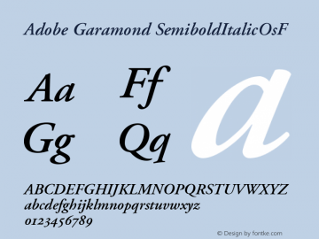 Adobe Garamond SemiboldItalicOsF Version 001.001 Font Sample