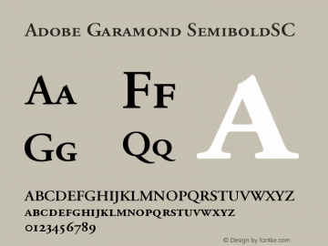 Adobe Garamond SemiboldSC Version 001.001 Font Sample