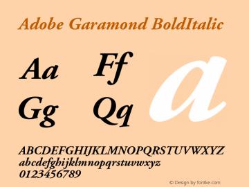 Adobe Garamond BoldItalic Version 001.001 Font Sample