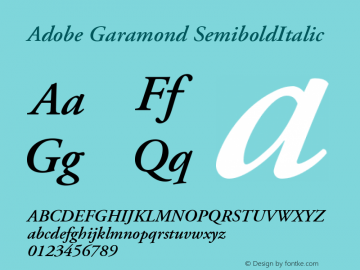 Adobe Garamond SemiboldItalic Version 001.001 Font Sample