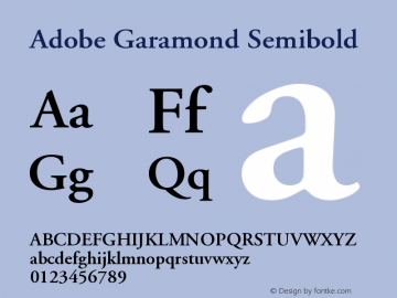 Adobe Garamond Semibold Version 001.001 Font Sample