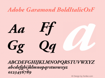 Adobe Garamond BoldItalicOsF Version 001.002 Font Sample