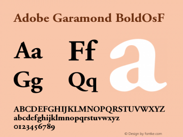 Adobe Garamond BoldOsF Version 001.002 Font Sample