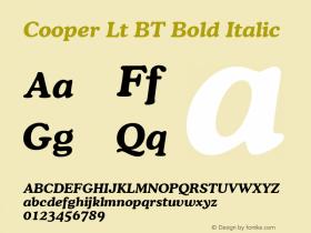 Cooper Lt BT Bold Italic mfgpctt-v1.53 Friday, January 29, 1993 3:42:59 pm (EST) Font Sample